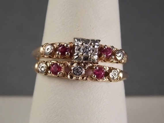1940s Ruby And Diamond Wedding Ring Set Yellow Gold 3 8gm