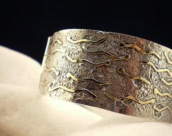 """Solid Sterling Silver Bracelet with 18K Gold - """"Assyrian Snake"""""""