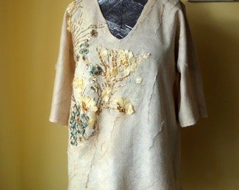 Nuno felted Top bluse wonderfully beautiful   beige gold