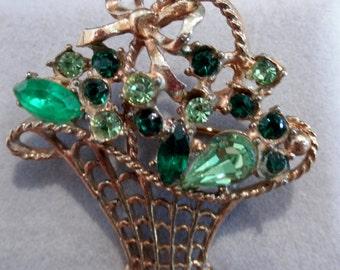 Vintage Costume JewelryGreen Gemstone Basket Brooch Pin 1.75 inch
