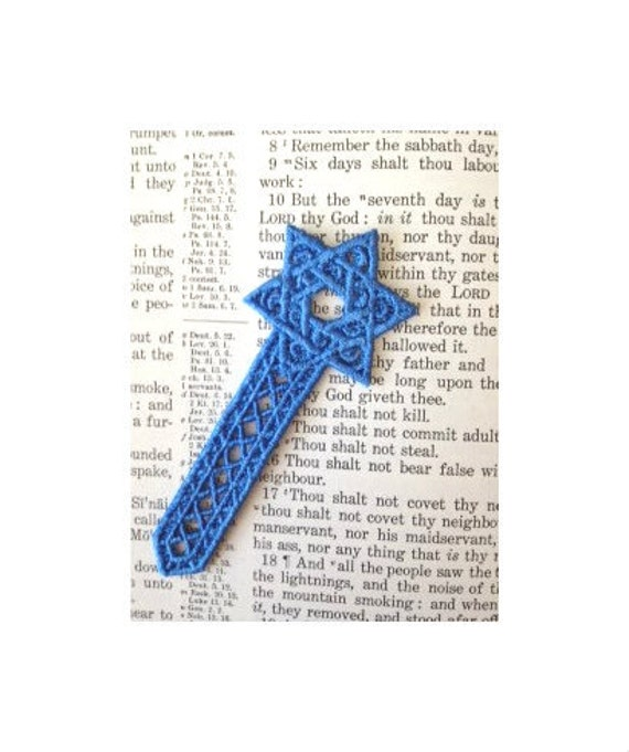 Star of David, Machine embroidered lace bookmark
