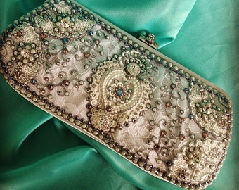 Marie Antoinette Wedding Clutch in Ivory with Robins Egg Blue Crystals (Choose any crystal color)