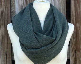 CHUNKY Army Green Infinity Scarf - ChunkyTextured Pine Green Eternity Scarf - Speckled