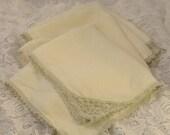 Set of 5 Crochet Edge Linen Handkerchief Hankies Grey and White