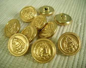 10 Metal Buttons-  15 mm - gold- shank