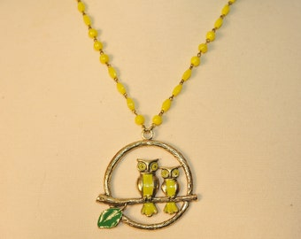 Handmade Vintage Chartreuse Owls On a Branch Necklace