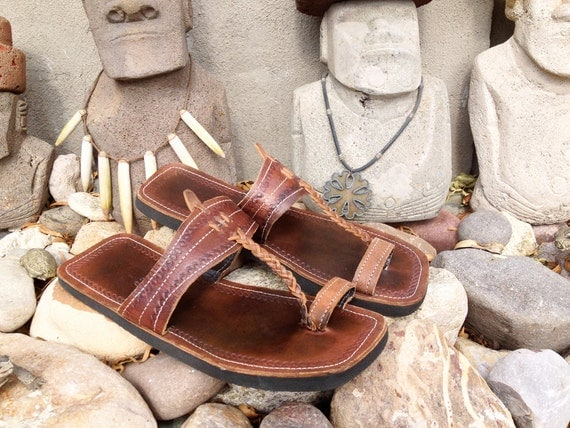 Men S Leather Square Toe Ring Toe Sandals Hawaiian Hippie