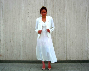 Vintage white dress white jacket lace