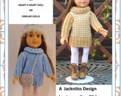 1LC07 Designa Friend Little Sister , H4H Doll Houndstooth Sweater Dress PDF Knitting Pattern