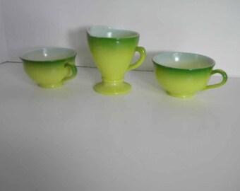 Vintage Hazel Atlas Green Ombre Ovide Creamer & Two Cups