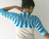 Striped Blue Shrug - Chic Elegant  Bolero - Spring Fall Winter Fashion - Teens Women Accessories -  Wedding Accessories