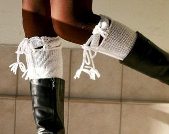 White Boot Cuffs - Boot Tops - Knit Boot Socks  - Fall Winter Fashion - Teens Women Accessories