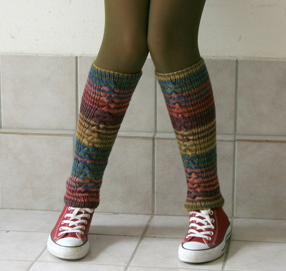 Striped Leg Warmers Cable Knit in Multicolor - Boot Cuffs - Boot Socks - Winter Fall Fashion - Teens Women Accessories