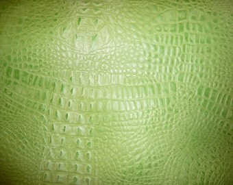 """Leather 8""""x10"""" SOUR APPLE Green ALLIGATOR Croc Gator embossed Cowhide 2 oz / .8 mm thickness PeggySueAlso"""