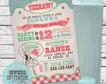 Vintage Cowgirl Invitation