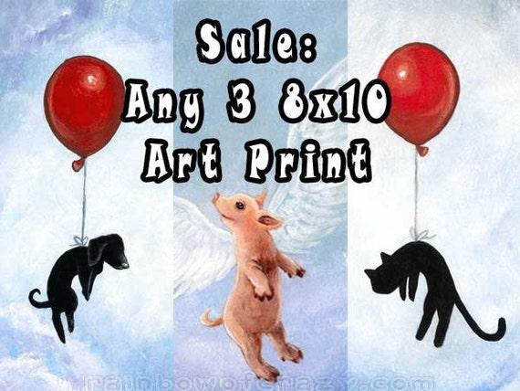 Sale: Any Print, Three 8x10 Art Prints, Your Choice, Art Print Set, Children's Wall Decor, Animal Artwork, Nursery Room Art