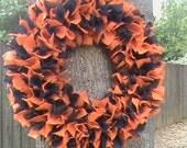 """Sale - Halloween Burlap Wreath / """"Black/Orange Combo"""" / Hand Tied / 22 inch"""