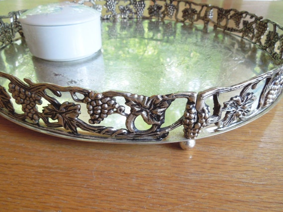 Antique Silver Godinger Mirror Vanity Tray Round Footed