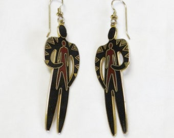 Laurel Burch Shaman Earrings - Shaman and Child - Collectible - Retired Design and Jewelry Line - Vintage