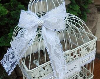 Large Lace Wedding Birdcage Card Holder / Wedding Card Box / Wedding Decor / Traditional Wedding / Rustic Wedding / Home Decor