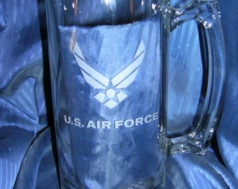 Etched us airforce glass mug, engraved us airforce glass mug, etched us airforce beer mug, engraved us airforce beer mug