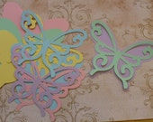 10 Pc Total 2 Different Size Shapes to Layer for 5  Large Butterfly Die Cut pieces Pastel colors cardstock paper