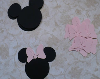 12 Minnie Mouse Head Shapes choose Pink shade Bow 3.5 inch Die Cut pieces for crafts Cupcake Picks DIY Kids Crafts Birthday Party etc.