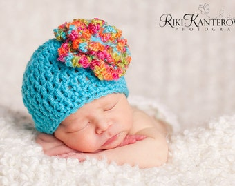Gorgeous Baby Girl Hat - Baby Hat  -Turqoise with Colorful Textured Fower - Sizes 0-12 months