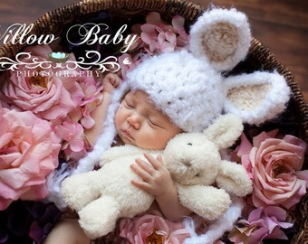 Baby Hat - Baby Bunny Hat -Baby Boy Hat - Baby Girl Hat -  Soft and Fluffy with Tan, Pink or Blue Ears