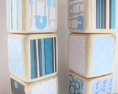 Blue and Brown. Baby Shower Decoration. For Boy. Wood Baby Blocks. wooden blocks. Children's toy.