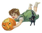 1 1/2 Fabric Cat Button - Halloween Green Autumn Pumpkin Orange Coral  Black Cat Nature Woodland