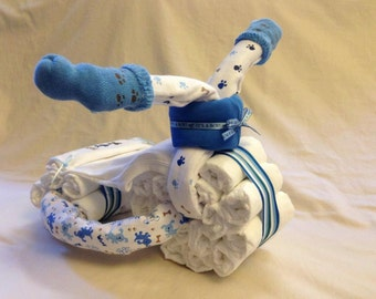 Baby Boy Diaper Motorcycle  - an adorable baby shower gift, made to order