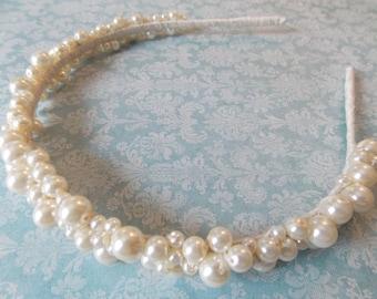 Wedding Hair Pearl Head Band Ivory Pearl Hairpiece Wedding Hair Band Bridal Hair Accessory Pearl Hair Band Romantic Bride Hair Band Pearls