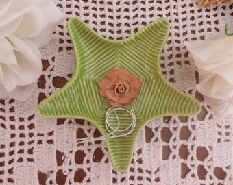 Wedding Ring Bearer Light Lime Grass Green Ceramic Starfish Beach Seaside Destination Tropical Island Hawaii Wedding Decoration Star Fish