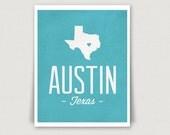 Austin, Texas Digital Art Print in Teal Blue - INSTANT DOWNLOAD