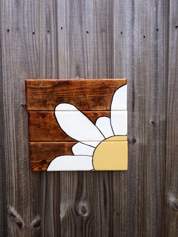 Wood Flower Wall Decor : Items similar to pallet wood flower wall decor mission oak