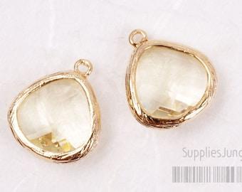 F100-G-LE// Gold Framed Lemon Faceted Glass Stone Pendant, 2 pcs