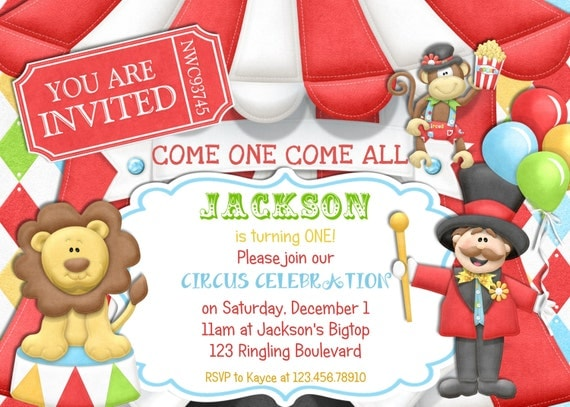 BigTop Circus Tent Boy Birthday Invitation