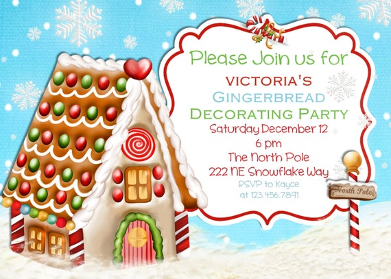 Gingerbread House Decorating Christmas Party Invitation – Gingerbread Party Invitations