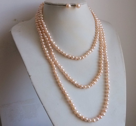 PEARL SET- genuine 6-7mm pink pearl long necklace 65inch &  earring (9-10mm)