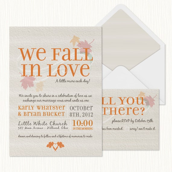 Fall in Love Wedding Invitation PRINTABLE – Printable Fall Wedding Invitations
