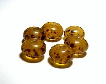 Vintage Amber Leopard Glass Rondelles Beads - 14-15mm - (6)