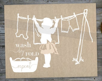 "Laundry Art Print INSTANT DOWNLOAD - Laundry room ""wash dry fold repeat"" burlap silhouette 10x8 print wall art decor"