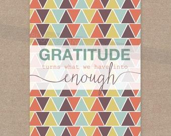 INSTANT DOWNLOAD Gratitude print (fall colors) 8x10 wall art decor