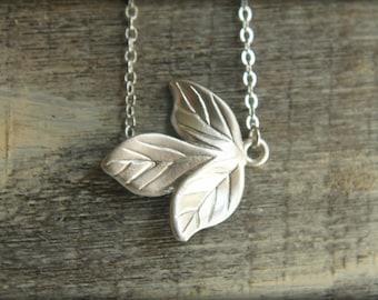 Triple Leaf Necklace in Matte Silver