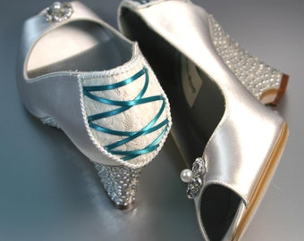 Wedding Shoes - Light Ivory Wedding Shoes Peep Two Wedges with Rhinestone and Pearl Covered Heel and Corset Back with Turquoise Lacing