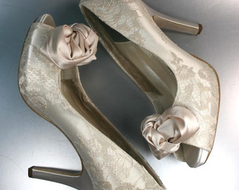 Wedding Shoes - Dark Ivory Wedding Shoes Peep Toes with Lace Overlay, Blush Bow and Pearl Details