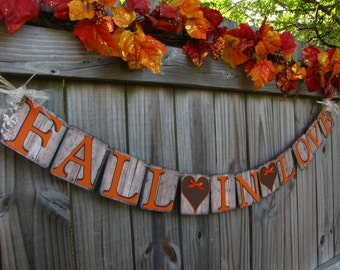 Fall Wedding Banner, Fall In Love Banner, Rustic Wedding Banner, Wedding Signage, Barn Style Wedding Banner, Falling In Love Banner