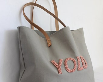 """Canvas Tote ... """"YOLO"""" Petite GRAY tote bag with PERSONALIZED leather label"""