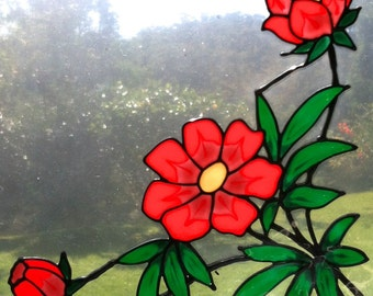 large red peony flower corner Suncatcher window sticker/decal stained glass style Sunshiner